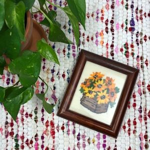 Vintage Yellow Floral Embroidery Wood Frame Art